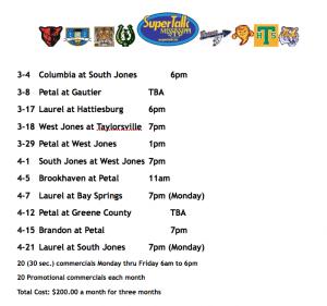 WLAU Baseball Schedule