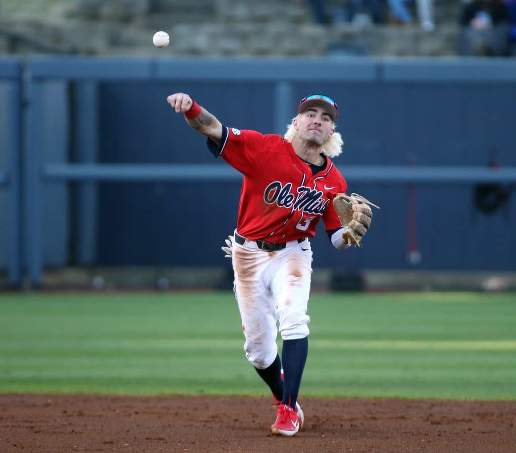 Ole Miss Baseball vs Louisville at Oxford-University Stadium/ Swayze Field in Oxford, MS, on February 14, 2020  Photo by Petre Thomas  Instagram and Twitter: @OleMissPix   Buy Photos at RebelWallArt.com